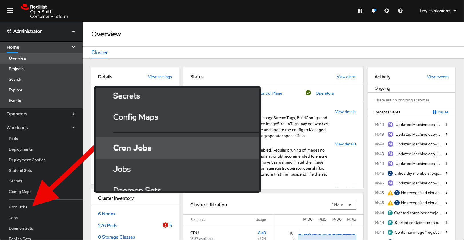 OpenShift Console with 'Cron Jobs' highlighted